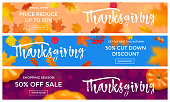 Thanksgiving sale or autumn special promo offer web banners background template. Vector pumpkin and maple leaf with calligraphy lettering for autumnal thanksgiving sale season design