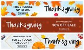 Thanksgiving autumn sale poster fall discount promo offer vector leaf pumpkin banners