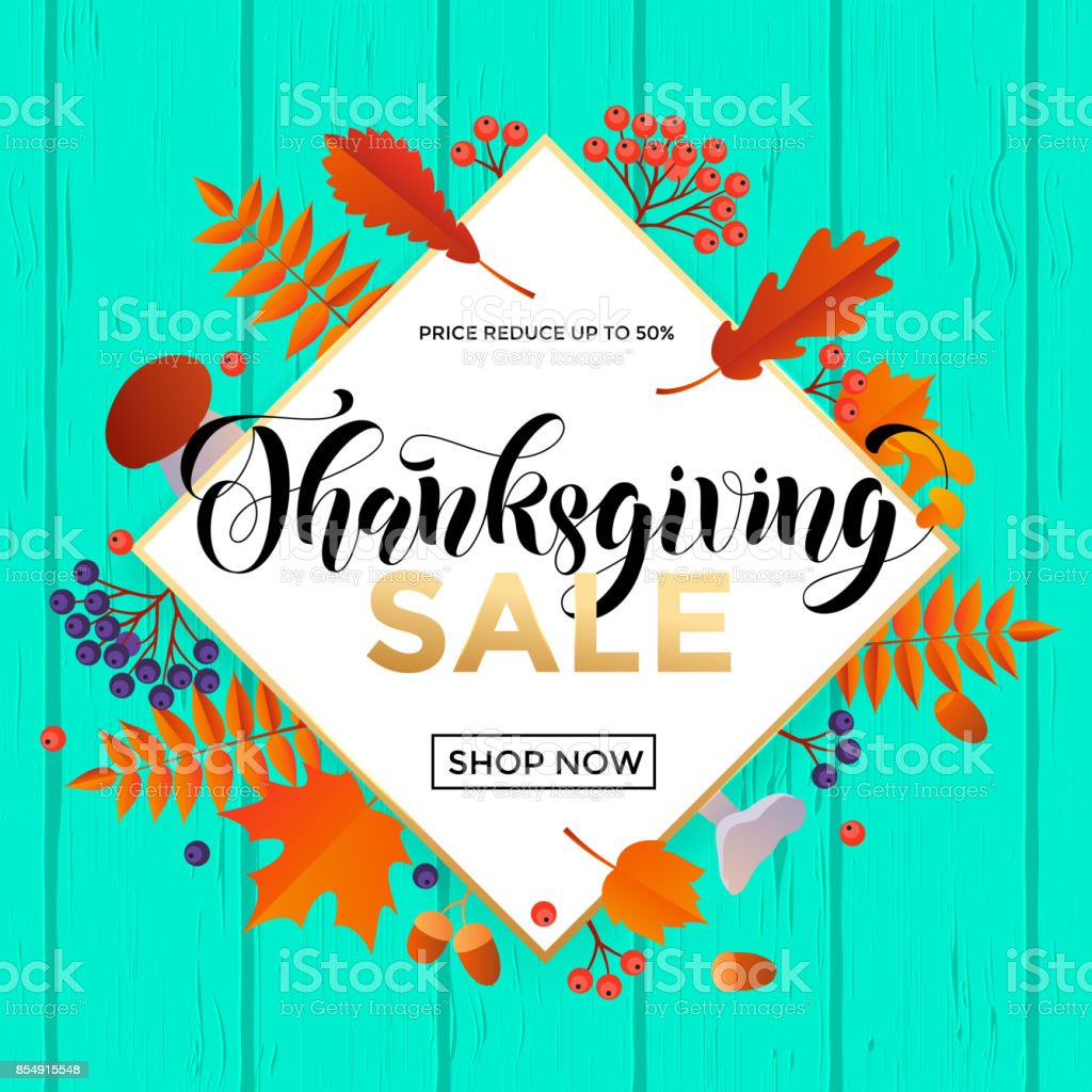 Thanksgiving Autumn Sale Poster Fall Discount Promo Shop