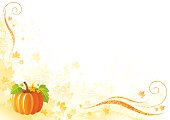 Thanksgiving background: pumpkin with leafs, swirls and copyspace