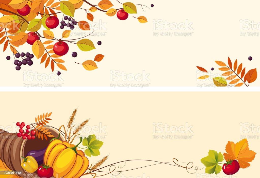Thanksgiving-Hintergrund mit Platz für Text, zwei horizontale Banner mit Herbst Blätter, Füllhorn Vektor Illustration – Vektorgrafik