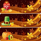 3 thanksgiving banners with autumn leafs and thanksgiving symbols.