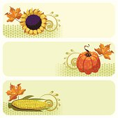 3 separately grouped autumnal/thanksgiving banners.