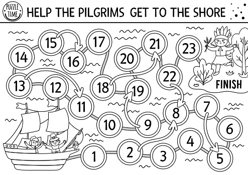 Thanksgiving black and white dice board game for children with cute pilgrims on a ship and native American Indian. Historical line autumn holiday boardgame. Fall outline activity for kids.