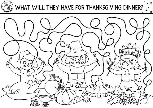 Thanksgiving black and white maze for children. Autumn holiday line printable activity. Fall labyrinth game or coloring page with first Americans, native Indian, holiday festive food