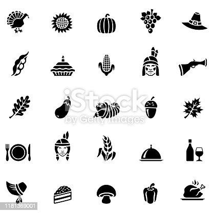Thanksgiving icon set. Flat design.