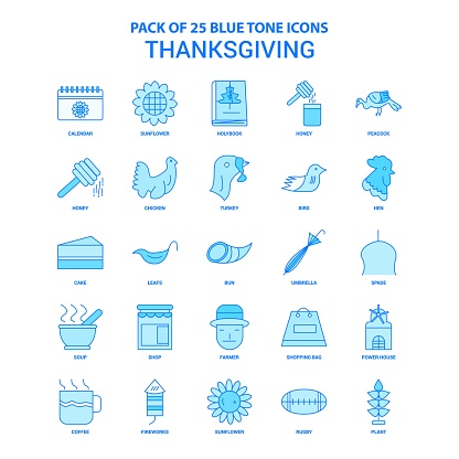 Thanksgiving  Blue Tone Icon Pack - 25 Icon Sets