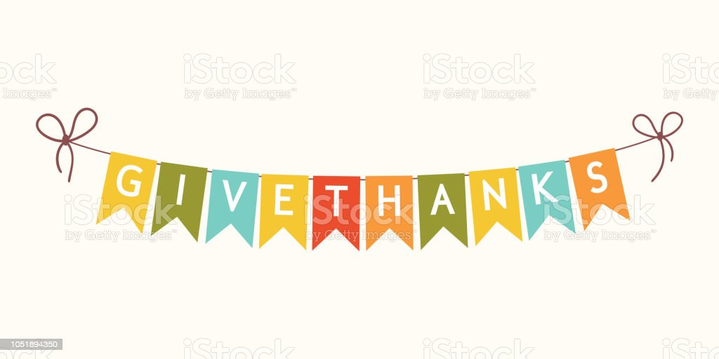 Thanksgiving bunting flags with letters. vector art illustration