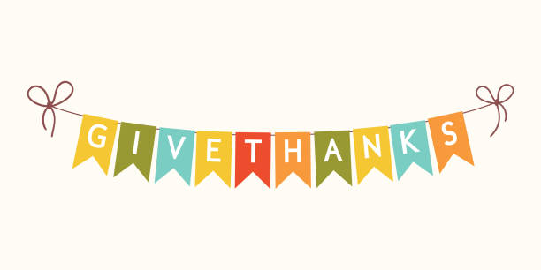 thanksgiving bunting flags with letters. - thanksgiving stock illustrations