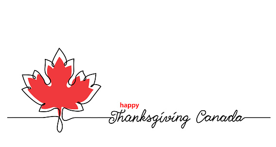 Thanksgiving Canada art background with maple leaf. Simple vector web banner. One continuous line drawing with lettering happy Thanksgiving Canada