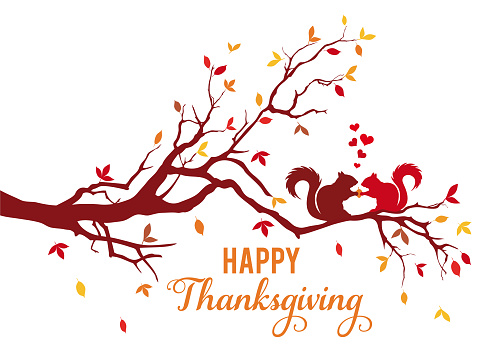 Thanksgiving card, autumn tree with squirrels and falling leaves, vector