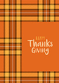 Thanksgiving Card Template with Tartan background.