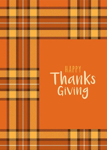 Thanksgiving Card Template with Tartan background. Stock illustration