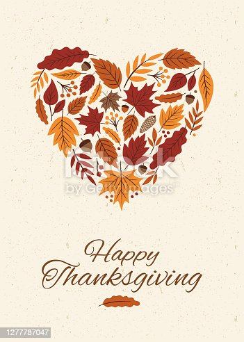 Thanksgiving card with autumn Leaves Heart. Stock illustration