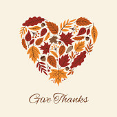 Thanksgiving card with autumn Leaves Heart.