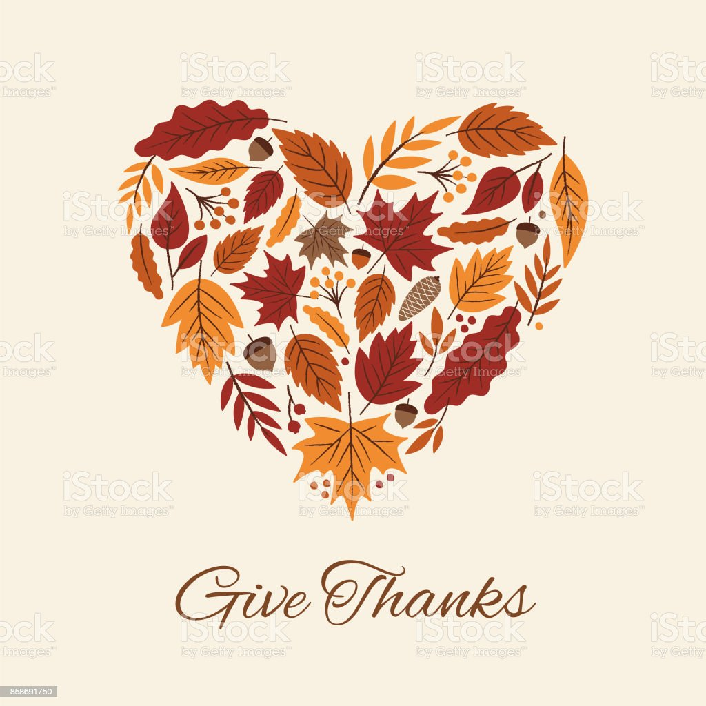 Thanksgiving card with autumn Leaves Heart. vector art illustration
