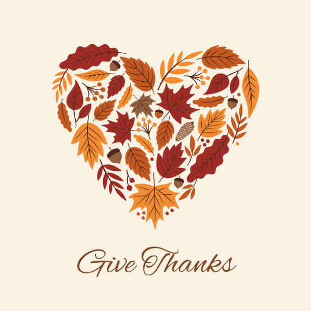 Thanksgiving card with autumn Leaves Heart. Thanksgiving card with autumn Leaves Heart. harvesting stock illustrations