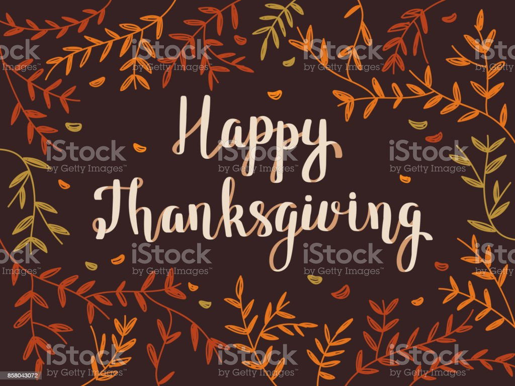 Thanksgiving Card with Colorful Foliage vector art illustration