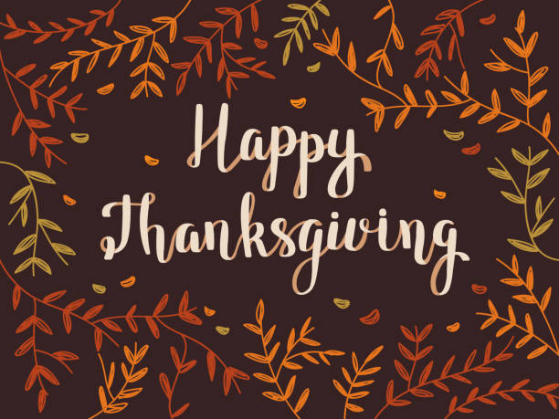 thanksgiving card with colorful foliage - thanksgiving stock illustrations