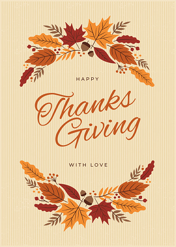 Thanksgiving Card with fall leaves wreath