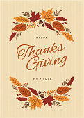 istock Thanksgiving Card with fall leaves wreath 1049349566