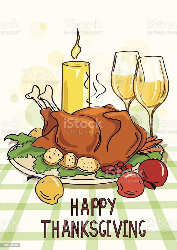 Thanksgiving card with roasted turkey bird royalty-free thanksgiving card with roasted turkey bird stock vector art & more images of american culture