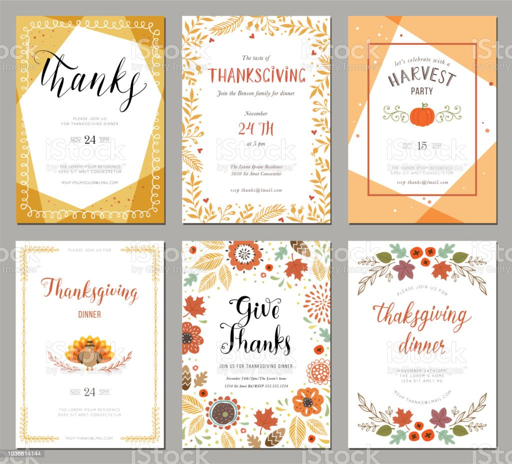 Thanksgiving Cards 01 Stock Illustration Download Image Now Istock