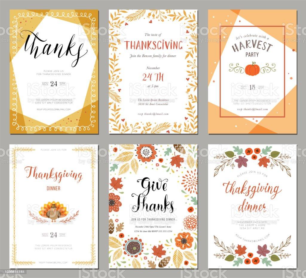 Thanksgiving Cards 01 vector art illustration
