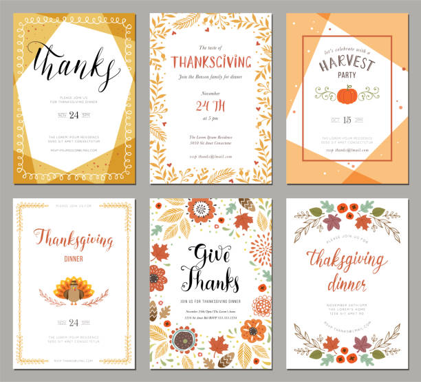 illustrazioni stock, clip art, cartoni animati e icone di tendenza di thanksgiving cards 01 - cena