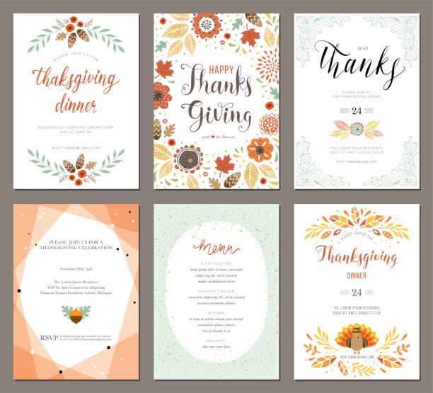 illustrazioni stock, clip art, cartoni animati e icone di tendenza di thanksgiving cards 02 - tavola imbandita