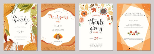 thanksgiving cards 02 - thanksgiving turkey stock illustrations