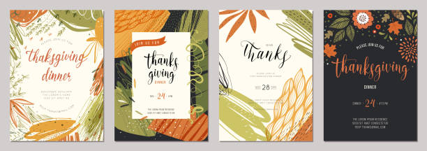 Thanksgiving Cards 03 Thanksgiving greeting cards and invitations. fall stock illustrations