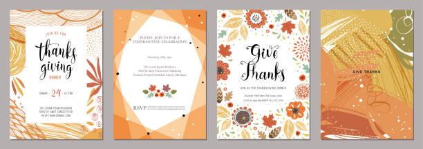 illustrazioni stock, clip art, cartoni animati e icone di tendenza di thanksgiving cards 05 - tavola imbandita