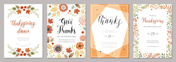 Thanksgiving Cards 06 Thanksgiving greeting cards and invitations. fall stock illustrations