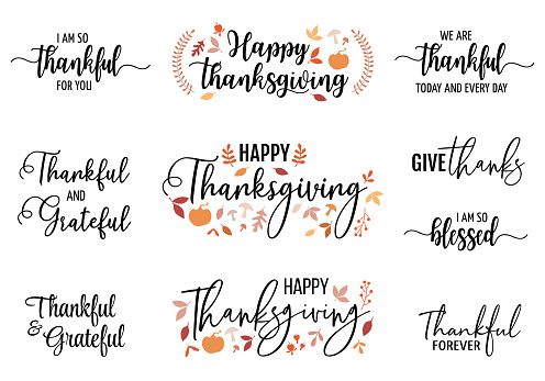 Thanksgiving cards, vector set