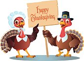 Thanksgiving Cartoon of  Male and Female Pilgrim Turkeytoon