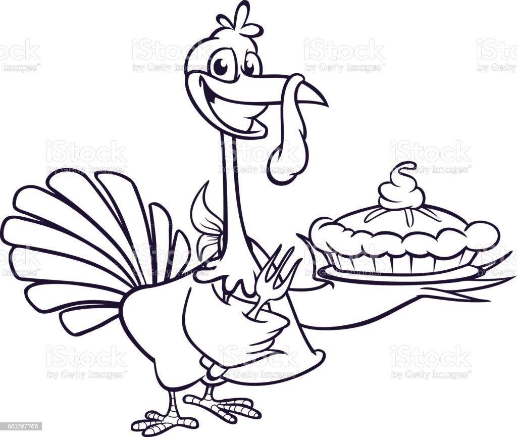 Thanksgivingcartoon Türkei Hält Gabel Und Pie Isoliert ...