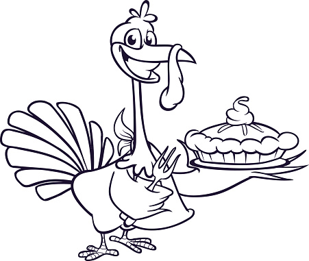 Thanksgiving Cartoon Turkey holding fork and pie isolated. Vector illustration of funny turkey for coloring book