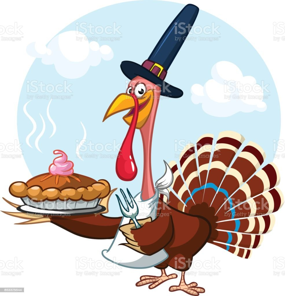 Thanksgiving Cartoon Turkey Holding Fork And Pie Isolated Vector ...