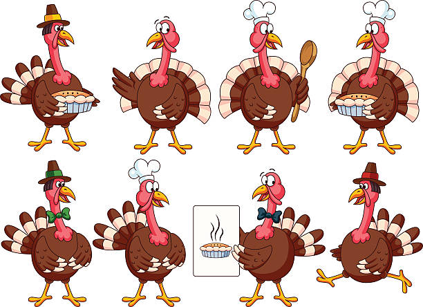 Thanksgiving Cartoon Turkeys Set vector art illustration