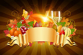 Thanksgiving Celebration Background with Banner. Each element in a separate layers. Very easy to edit vector EPS10 file. It has transparency layers with blend effects.