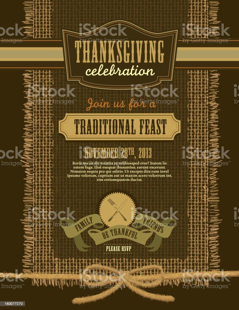 Thanksgiving celebration invitation burlap design template vector art illustration