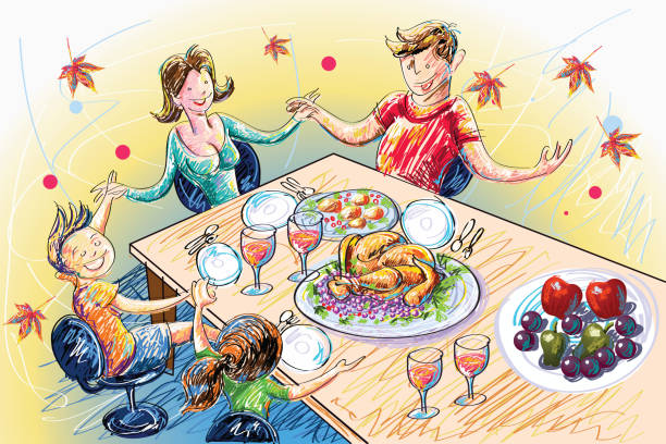 ilustrações, clipart, desenhos animados e ícones de celebração do dia de ação de graças - jantar em família