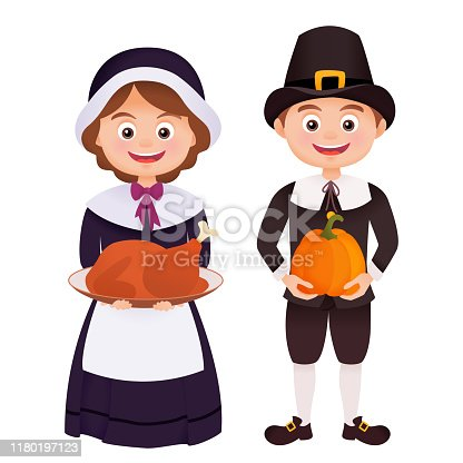 Thanksgiving character in pilgrims costume holding turkey and pumpkin isolated on white
