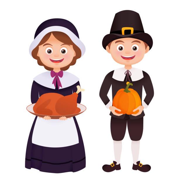 thanksgiving-charakter im pilgerkostüm - hauben stock-grafiken, -clipart, -cartoons und -symbole