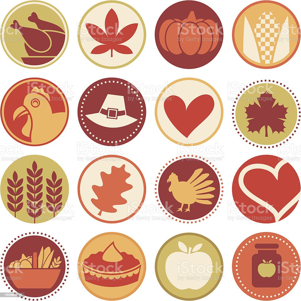 Thanksgiving - Circle Icons / Seals royalty-free thanksgiving circle icons seals stock vector art & more images of apple - fruit