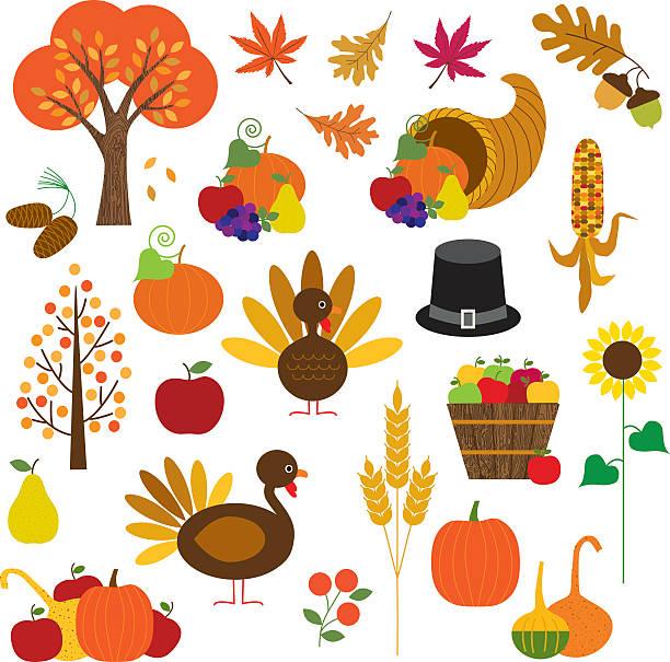 ilustrações de stock, clip art, desenhos animados e ícones de dia de ação de graças clipart - muita comida
