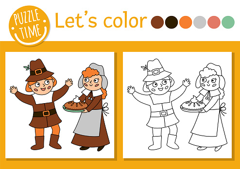 Thanksgiving coloring page for children with pilgrims. Vector autumn holiday outline illustration with first settlers. Adorable fall color book for kids with colored example. Drawing skills worksheet