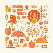 Autumn composition with thanksgiving silhouettes. ZIP includes large JPG (CMYK), PNG with transparent background.