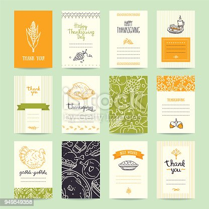 Thanksgiving party invitation and greeting card, flyer, banner, poster templates. Hand drawn traditional symbols, cute design elements, handwritten ink lettering. Orange and green vector collection.